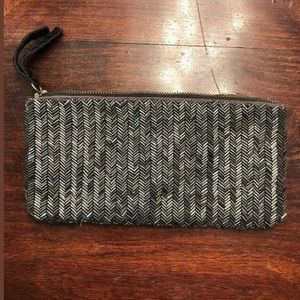 Club Monaco Clutch Handbag  Gray SILVER Beading